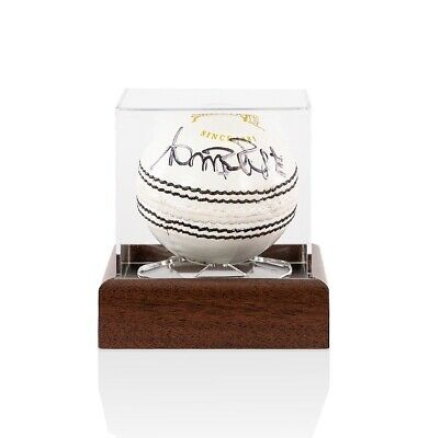 Curtly Ambrose Signed Cricket Ball White - With Acrylic Display Case