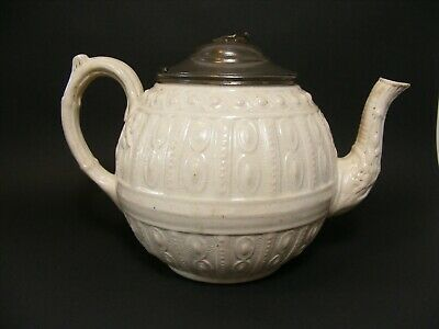Antique Early Victorian Staffordshire Salt Glaze Stoneware, Teapot Pewter Lid.