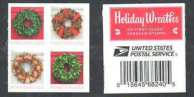 SC#5424 - 5427 - (Forever) Holiday Wreaths Booklet Pane of 4 MNH #1 w/USPS Label