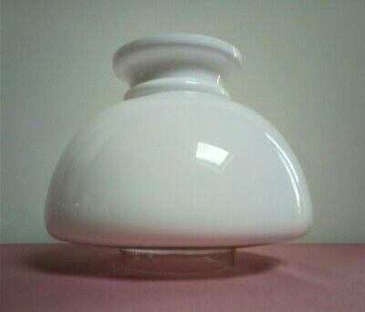 "Vintage 1 Piece Opal White and Clear Glass Student Oil Lamp Shade 4"" Fit dia"