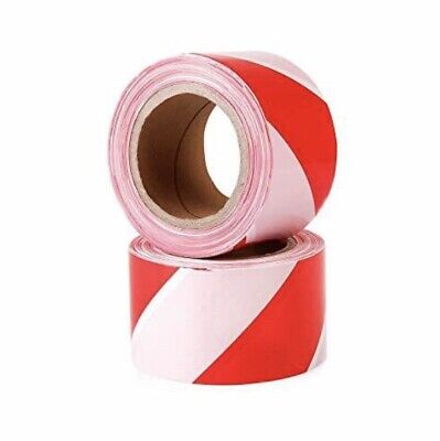 Safety Hazard Warning Barrier Tape Non Adhesive Red & White 70mm x 500m