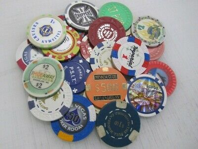 22 Casino Gaming Poker Chip Lot Las Vegas $1 New & Used Chipco Paulson Clay