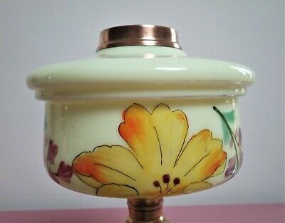 Vintage Hand Painted Floral design Vaseline Glass Oil Lamp Font. Duplex collar.