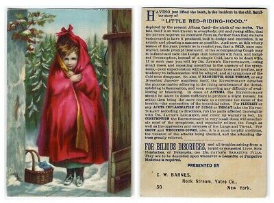 Rock Stream NY DR JAYNE'S EXPECTORANT Victorian Trade Card RED RIDING HOOD 1880s