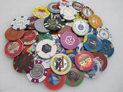 44 Casino Gaming Poker Chip Lot Las Vegas $1 New & Used Chipco Paulson Clay