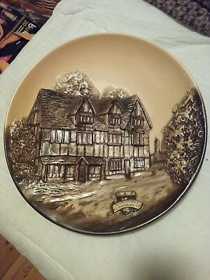 Antique Olde England Porcell Ware  Handpainted Wall Plaque Shakespeares House