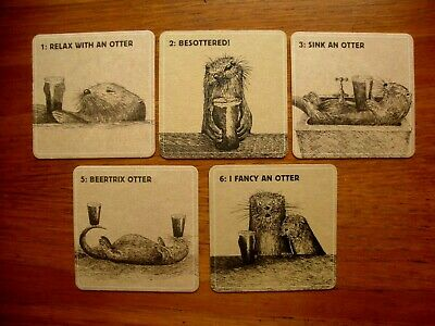 5  Different  Otter  Brewery ' Relax With An Otter '  Beer  Mats /Coasters  New