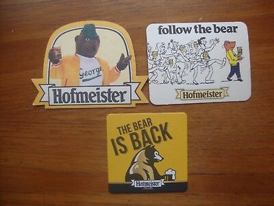 3  Different  Hofmeister  Lager  Beer  Mats / Coasters