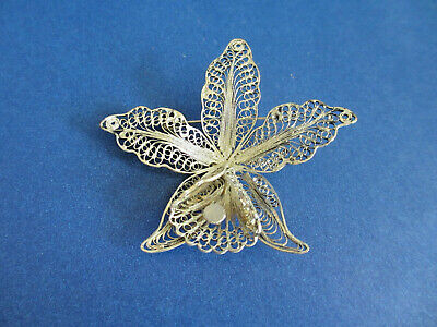 Two Italian Silver Filigree Brooch Pin Flower  Italy Beautiful Metalwork