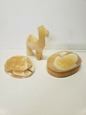 Egyptian Alabaster Carved Scarabs and Camel, Hand Crafted Stone Collectibles
