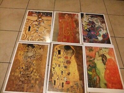 klimt 6 posters vtge 1994 the kiss, bloch-bauer,tree of life,the maidens A3