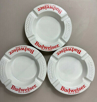Vintage Budweiser King of Beers Ashtray Haeger Made in USA White Ceramic