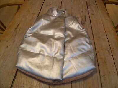 Immaculate ANDORINE Silver & Dusty Pink Faur Fur Reversible GILET Body Warmer 10