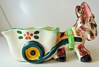 Vintage Pottery Donkey and Cart Planter Green and White with Green Wheels