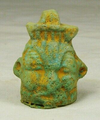 Ancient Egyptian Pendant Dwarf God BES Bust Faience Amulet