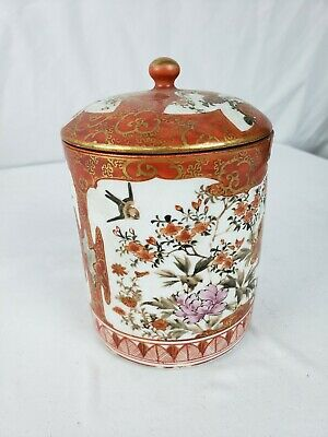 Great antique japanese Kutani tea caddy, signed