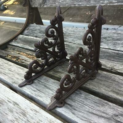 2 X ORNAMENTAL SHELF BRACKET BRACE Vintage Rustic Antique Brown Cast Iron CJ003