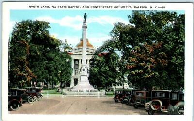 RALEIGH, North Carolina NC  State Capitol CONFEDERATE MONUMENT c1920s Postcard