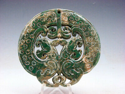 Old Nephrite Jade Stone 2 Sides Carved LARGE Pendant 2 Furious Dragons #05221911