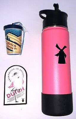 Dutch Bros Mug Pink Hydroflask Tumbler With 2018 Ornament And Sticker New