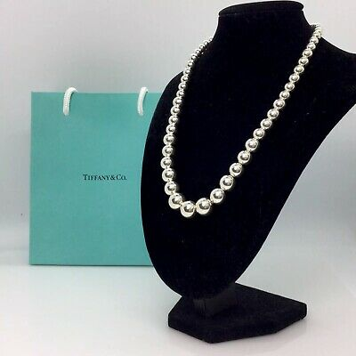 Authentic-Tiffany & Co. Sterling silver Graduated Bead Ball Necklace 16""