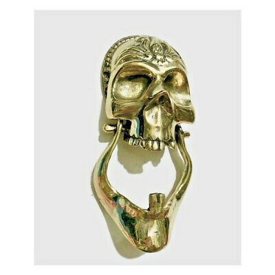 "polished SKULL head JAW heavy Door Knocker SOLID 100% BRASS day of the dead 8"" B"