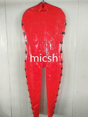 Latex Rubber Catsuit Gummi Ganzanzug Rot Overall Bodysuit Party Suit S-XXL 0.4mm