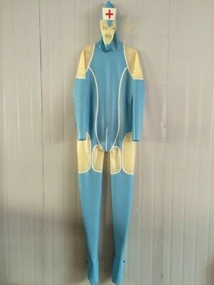 Latex Catsuit Rubber Gummi Ganzanzug Bodysuit Light blue Doctor Costume 0.4mm