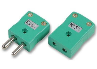 Type K Thermocouple Inline Plug and Socket, IEC, Green - LABFACILITY