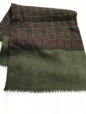 Men's VINTAGE SCARF SILK wool Retro Geometric Cravat Italy Patterned PRISTINE