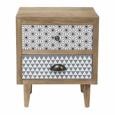 KARE DESIGN Brown Wooden Geometric 2-Drawer Small Capri Bedside Table NEW