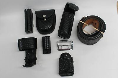 Duty Belt Police Security Leather Set With Brass Silver Buckle 6 Attachments