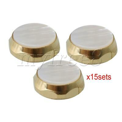 45 Pieces Golden Trumpet Finger Buttons Zinc Alloy White Shell Inlays