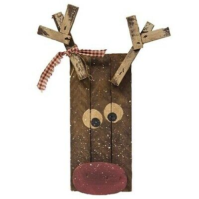 New Primitive Rustic Christmas BARN WOOD RUDOLPH REINDEER Wall Hanging