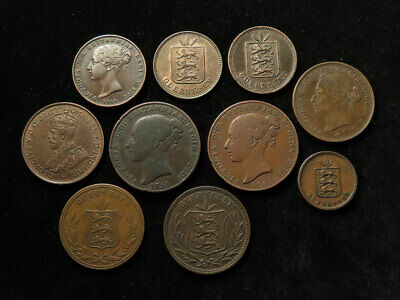 Channel Islands Collection of 10x Coins 19th-20thC