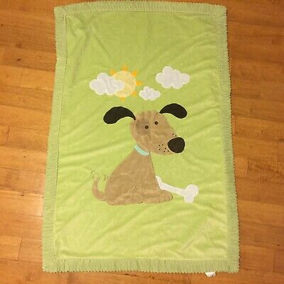 Little Miracles Green Puppy Dog Bone Velour Baby Blanket Sherpa Plush Security