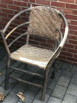 Vintage Adirondack  BENT WILLOW CHAIR with original rush seat