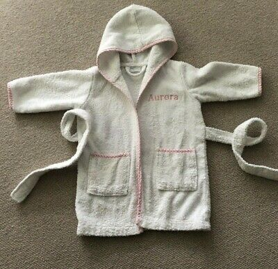 Girl Baby Toddler Dressing Gown Personalised Embroidered AURORA 12-18 Months