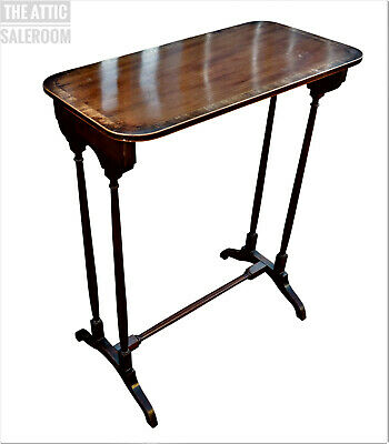 Charming & Unusual Old Antique Inlaid Side End Lamp Hall Console Table