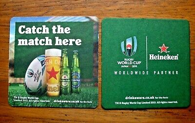 Heineken ' Rugby  World  Cup  Japan  2019 '  Beer  Mat / Coaster  New