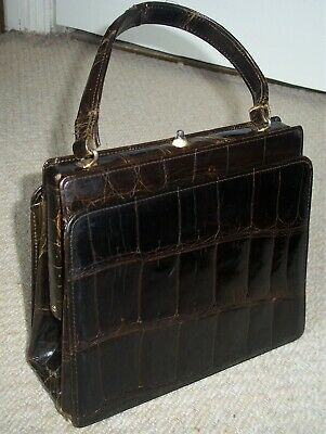 Exquisite Vintage Dark Tan Glossy Genuine Crocodile Skin Boxy Handbag/Clasp Bag