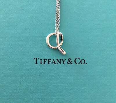 "Tiffany & Co. Sterling Silver Elsa Peretti Letter ""A"" Pendant & 16"" Necklace"