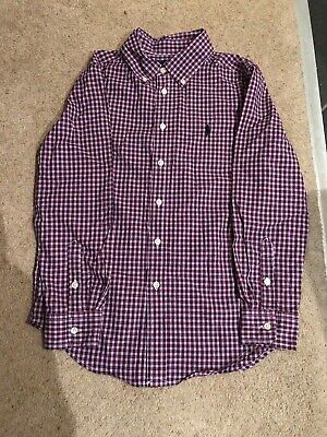 Ralph Lauren Boys Shirt Age 10-12 Years Long Sleeved Red/White/Blue Check VGC