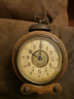 Antique clock wind up very unusual wooden 12  & 24 hour dial