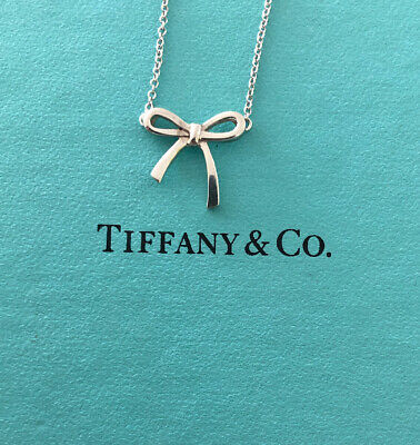 """Tiffany & Co Sterling Silver Small Bow Ribbon Necklace 16"""" in Length"""