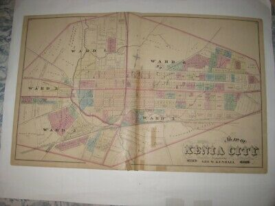 Large Superb Antique 1874 Xenia Greene County Ohio Handcolored Dated Map Rare Nr