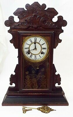 "Old Antique Oak WATERBURY ""NELSON"" 8 Day GINGERBREAD CLOCK Stork Design -RUNS-"
