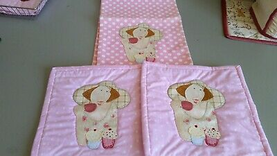 Tea Towel & 2 x Hot Mits - Hand Embroidered and Apliqued - Bronwyn Hayes design