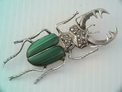 Huge Antique Sterling Silver Green Stone Stag Beetle Brooch Pin Life Like Detail