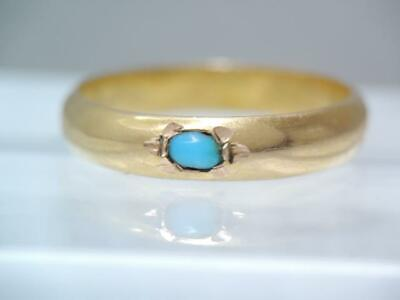 Antique 14K Solid Gold Turquoise Band Ring Wedding Ring Design